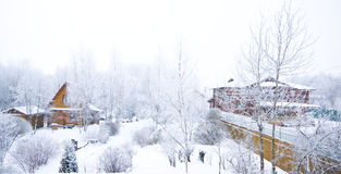 Cottage in winter. Russian winter and cottages in snow Royalty Free Stock Images