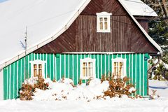 Cottage in winter Royalty Free Stock Photos