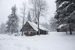 Cottage in winter Royalty Free Stock Photo