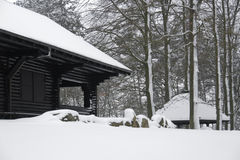 Cottage in winter ambiance Stock Photo