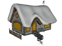 Cottage in winter - 3D render Royalty Free Stock Photo
