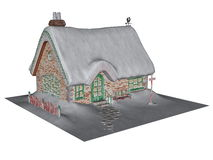 Cottage in winter - 3D render Stock Photography