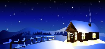 Cottage in winter forest (vector) stock photo