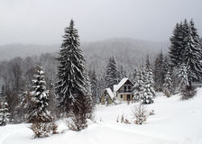 Cottage in winter, Kopaonik, Serbia Royalty Free Stock Image