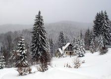 Cottage in winter, Kopaonik, Serbia. Close up photo Royalty Free Stock Image