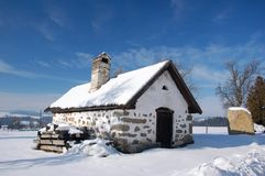 Cottage in winter landscape Royalty Free Stock Photography