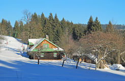 Cottage in winter landscape Royalty Free Stock Photos