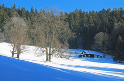 Cottage in winter landscape Royalty Free Stock Image