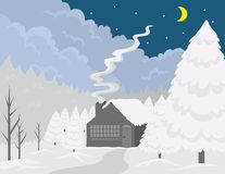 Cottage Winter Scene Stock Images