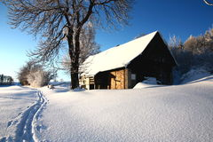 Cottage in winter Royalty Free Stock Photography