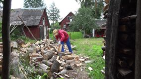 Cottager split hard log in country woodshed in summertime. 4K stock video