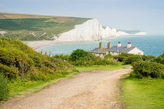 Cottages & 7 Seven Sisters, Brighton, England Royalty Free Stock Photos