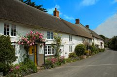 Cottages in Abbotsbury. Row of pretty English traditional thatched country cottages in the small village of Abbotsbury in Dorset Stock Images