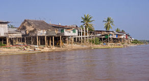 Cottages on the banks of the Mekong River Stock Photography
