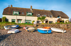 Cottages on the Beach at Porlock Weir Royalty Free Stock Photography