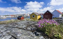 Cottages and boat houses at Vrango. Of Bohuslan Coast, Sweden royalty free stock photos