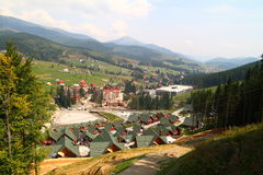 Cottages in Carpathian Mountains. Cottages, chair lift in Carpathian Mountains Stock Image