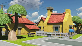Cottages in a cartoon style under cloudy sky stock video footage