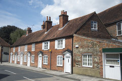 Cottages in Chichester. A row of brick, flint and tiled terraced cottages in Chichester England royalty free stock photography