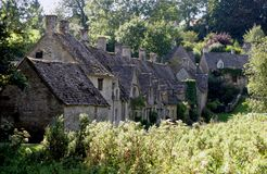 Cottages in Cotswolds. Lane of cottages in the Cotswolds Stock Photos