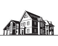 Cottages, country houses. Individual residential houses. Suburban homes or cottages. Vector graphics Stock Image