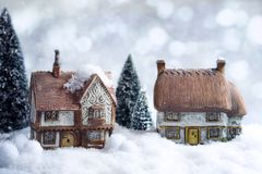 Cottages d'hiver Photo stock