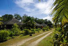 Cottages dans le style des Seychelles Image libre de droits