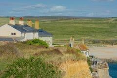 Cottages de garde-c?te Bas du sud, Cuckmere, le Sussex images stock
