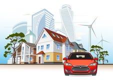 Cottages et gratte-ciel, usine d'énergie éolienne, voiture électrique Images stock