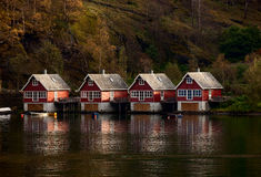 Cottages in Fjords Royalty Free Stock Photos