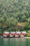 Cottages in Fjords. Flam, Norway Royalty Free Stock Image