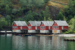 Cottages in Fjords Stock Photo