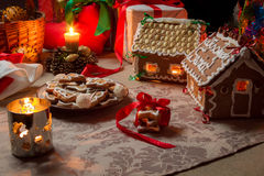 Cottages and gingerbread cookies Royalty Free Stock Photography