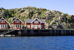 Cottages on island Skrova in Norway. Cottages on island Skrova on Norwegian Lofoten Islands Royalty Free Stock Photos