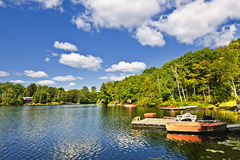 Cottages on lake with docks. Beautiful lake with docks in Ontario Canada cottage country stock photos