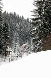 Cottages in mountains. In winter somewhere in Poland Royalty Free Stock Image