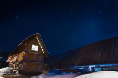 Cottages at Ogimachi Village at Night Stock Photo