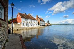 Langstone Quay in Hampshire. Cottages and an old mill on the quay at Langstone near near Havant in Hampshire stock photo