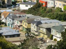 Cottages in a row in San Francisco. USA. Spring 2015 stock image