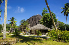 Cottages in Seychelles style. Stock Image