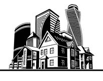 Cottages and skyscrapers. Several houses and high-rise buildings, vector graphic arts Stock Image