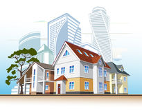 Cottages and skyscrapers. Several houses and high-rise buildings, vector illustration Stock Photos
