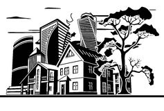 Cottages and skyscrapers. Tree, several houses and high-rise buildings, vector graphic arts Stock Image