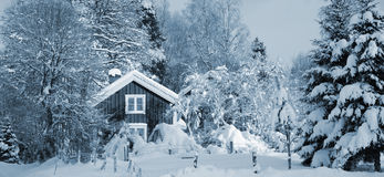 Cottages in snowy winter season Royalty Free Stock Photo