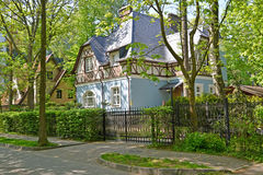 Cottages on the street in a sunny day. Svetlogorsk, Kaliningrad region Royalty Free Stock Photos