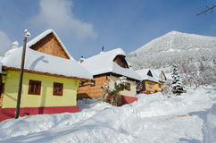 Cottages in vlkolinec Royalty Free Stock Photography