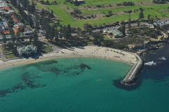 Cottesloe Beach Perth Western Australia. And historic pavilion from the air stock photo