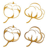 Cotton. 4 stylized cotton icons royalty free illustration