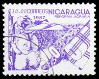 Cotton, Agrarian Reform serie, circa 1987. MOSCOW, RUSSIA - MARCH 23, 2019: Postage stamp printed in Nicaragua shows Cotton, Agrarian Reform serie, circa 1987 stock photography