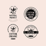 Cotton badges design, organic product.Vector with graphic. Stock Photos